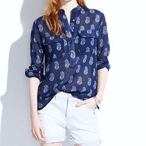 [Madewell] Navy Paisley Popover Cotton Shirt